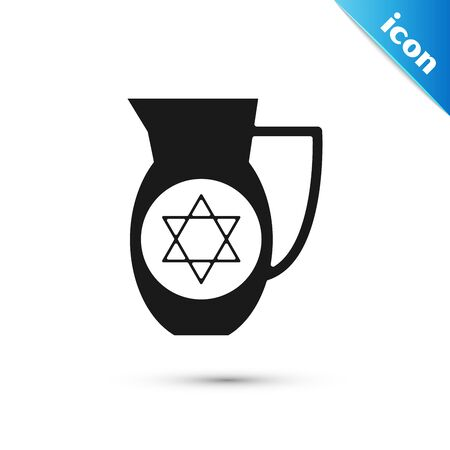 Black Decanter with star of david icon isolated on white background. Pottery jug. Organic product in carafe. Vector Illustration