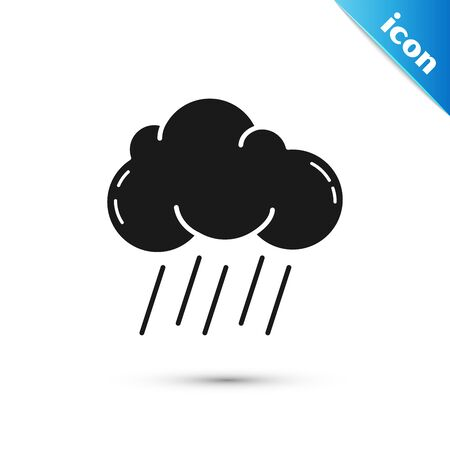 Black Cloud with rain icon isolated on white background. Rain cloud precipitation with rain drops. Vector Illustration
