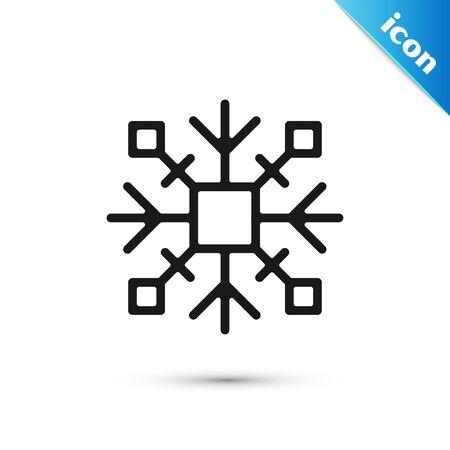 Black Snowflake icon isolated on white background. Vector Illustration