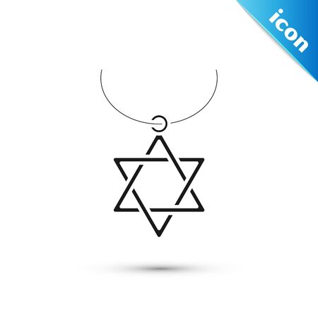 Black Star of David necklace on chain icon isolated on white background. Jewish religion symbol. Symbol of Israel. Jewellery and accessory. Vector Illustration