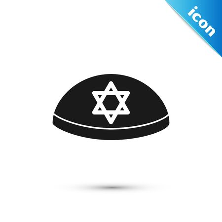 Black Jewish kippah with star of david icon isolated on white background. Jewish yarmulke hat. Vector Illustration