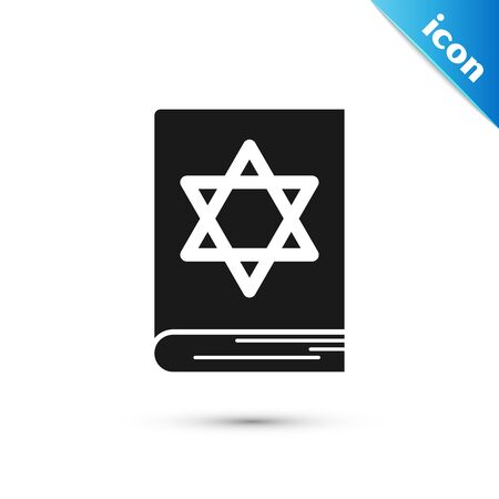 Black Jewish torah book icon isolated on white background. Pentateuch of Moses. On the cover of the Bible is the image of the Star of David. Vector Illustration Çizim