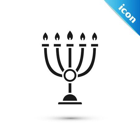 Black Hanukkah menorah icon isolated on white background. Hanukkah traditional symbol. Holiday religion, jewish festival of Lights. Vector Illustration 向量圖像
