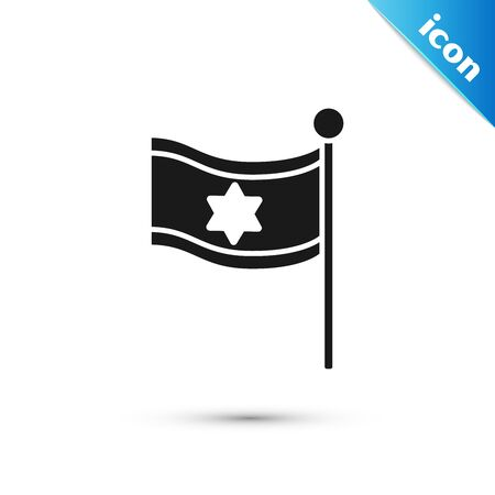 Black Flag of Israel icon isolated on white background. National patriotic symbol. Vector Illustration