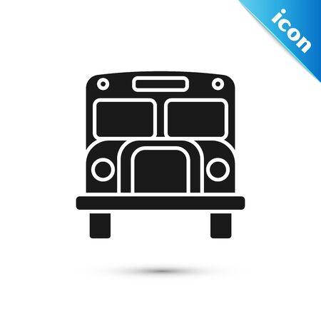 Black School Bus icon isolated on white background. Public transportation symbol. Vector Illustration