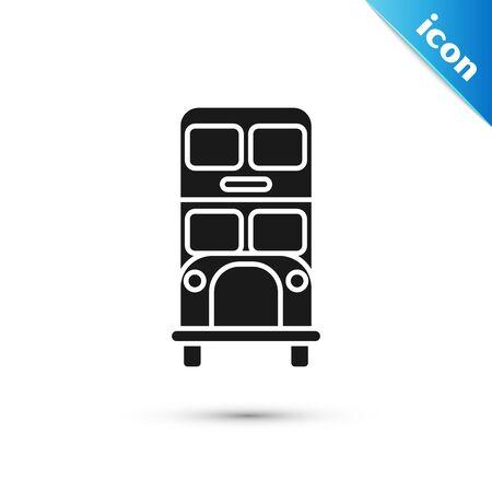 Black Double decker bus icon isolated on white background. London classic passenger bus. Public transportation symbol. Vector Illustration Çizim