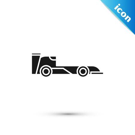 Black Formula race car icon isolated on white background. Vector Illustration
