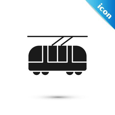 Black Tram and railway icon isolated on white background. Public transportation symbol. Vector Illustration