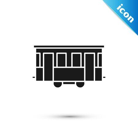 Black Old city tram icon isolated on white background. Public transportation symbol. Vector Illustration