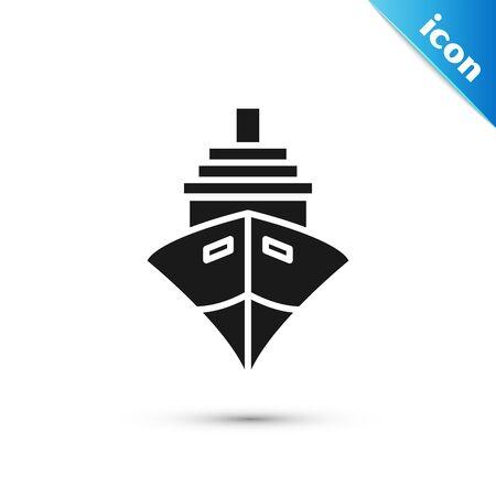 Black Cargo ship icon isolated on white background. Vector Illustration