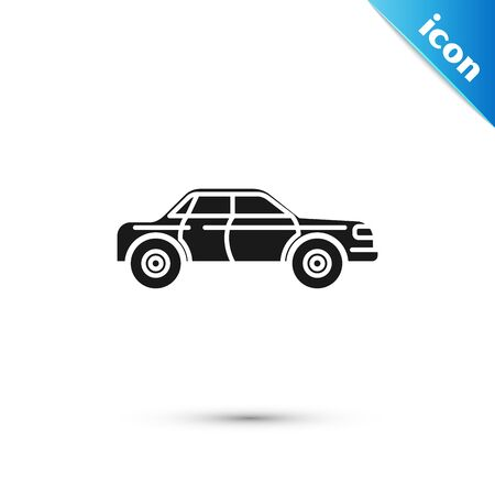 Black Sedan car icon isolated on white background. Vector Illustration