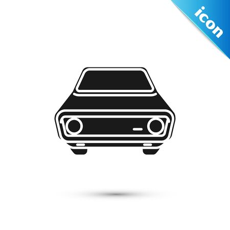 Black Car icon isolated on white background. Front view. Vector Illustration