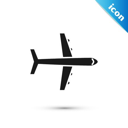 Black Plane icon isolated on white background. Flying airplane icon. Airliner sign. Vector Illustration