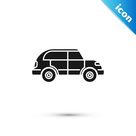 Black Hatchback car icon isolated on white background. Vector Illustration Иллюстрация