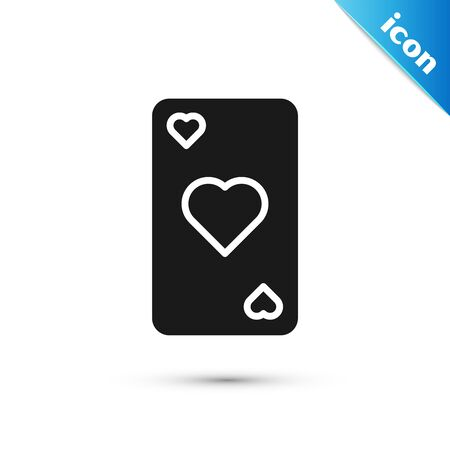 Black Playing card with heart symbol icon isolated on white background. Casino gambling. Vector Illustration