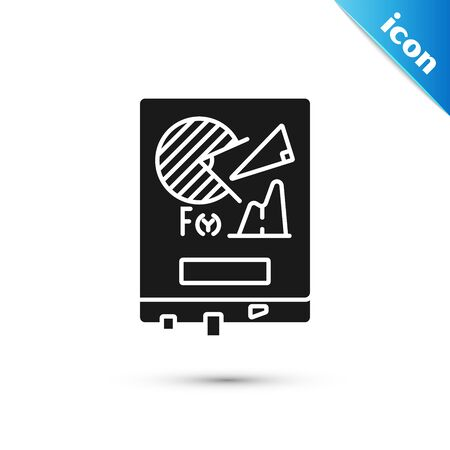 Black Board with graph chart icon isolated on white background. Report text file icon. Accounting sign. Audit, analysis, planning. Vector Illustration 向量圖像