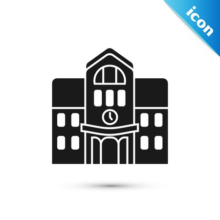 Black School building icon isolated on white background. Vector Illustration