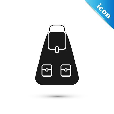 Black School backpack icon isolated on white background. Vector Illustration