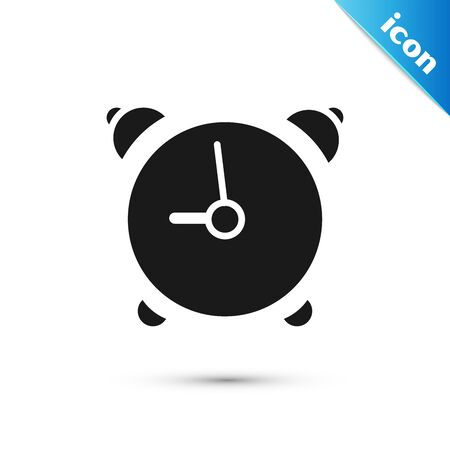 Black Alarm clock icon isolated on white background. Wake up, get up concept. Time sign. Vector Illustration