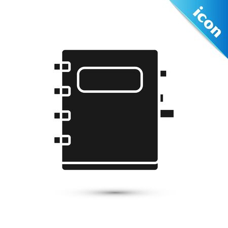 Black Notebook icon isolated on white background. Spiral notepad icon. School notebook. Writing pad. Diary for school. Vector Illustration Ilustrace
