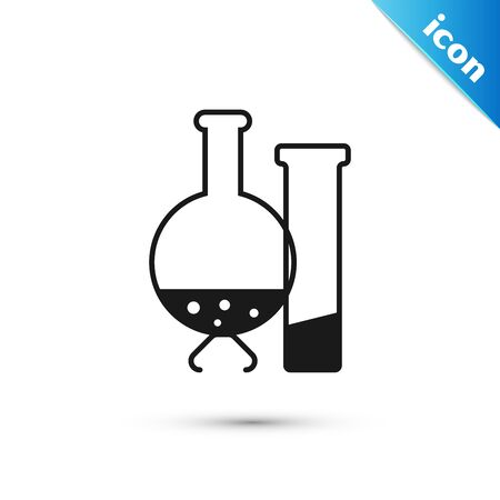 Black Test tube and flask - chemical laboratory test icon isolated on white background. Laboratory glassware sign. Vector Illustration