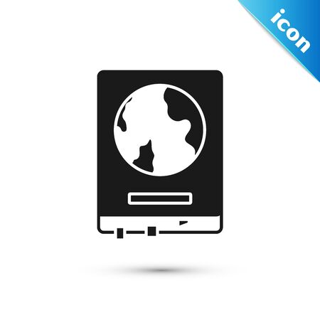 Black World map on a school blackboard icon isolated on white background. Drawing of map on chalkboard. Vector Illustration Иллюстрация