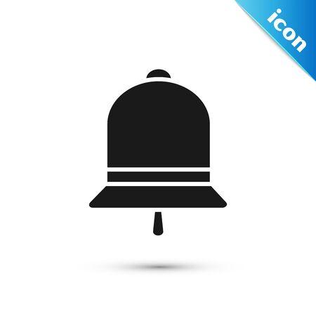 Black Ringing bell icon isolated on white background. Alarm symbol, service bell, handbell sign, notification symbol. Vector Illustration Illustration