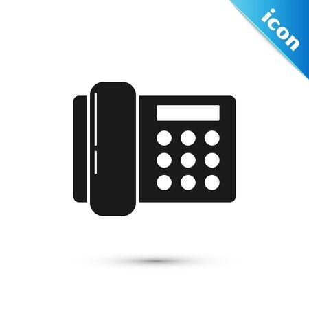 Black Telephone icon isolated on white background. Landline phone. Vector Illustration Ilustração