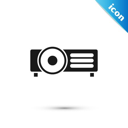 Black Presentation, movie, film, media projector icon isolated on white background. Vector Illustration