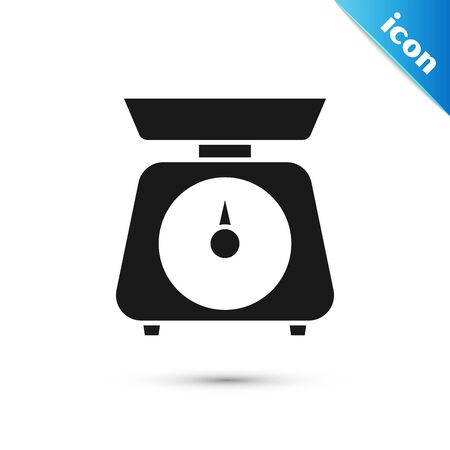 Black Scales icon isolated on white background. Weight measure equipment. Vector Illustration