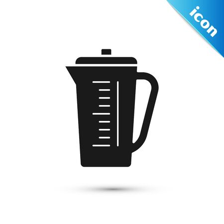 Black Measuring cup to measure dry and liquid food icon isolated on white background. Plastic graduated beaker with handle. Vector Illustration