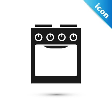 Black Oven icon isolated on white background. Stove gas oven sign. Vector Illustration 矢量图像