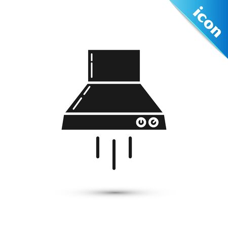 Black Kitchen extractor fan icon isolated on white background. Cooker hood. Kitchen exhaust. Household appliance. Vector Illustration Stock Illustratie