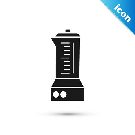 Black Blender icon isolated on white background. Kitchen electric stationary blender with bowl. Cooking smoothies, cocktail or juice. Vector Illustration Çizim