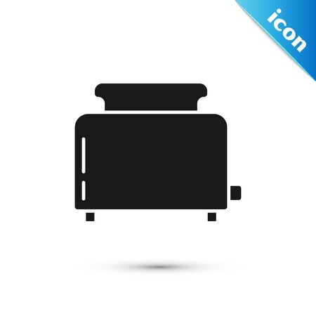 Black Toaster with toasts icon isolated on white background. Vector Illustration