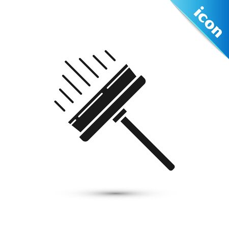 Black Cleaning service with of rubber cleaner for icon isolated on white background. Squeegee, scraper, wiper. Vector Illustration Ilustrace