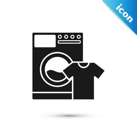Black Washer and t-shirt icon isolated on white background. Washing machine icon. Clothes washer, laundry machine. Home appliance symbol. Vector Illustration