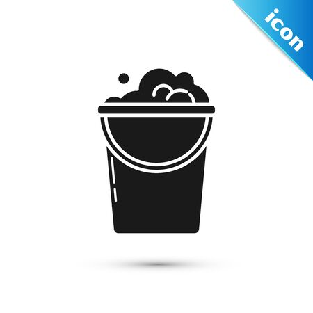 Black Bucket with foam and bubbles icon isolated on white background. Cleaning service concept. Vector Illustration