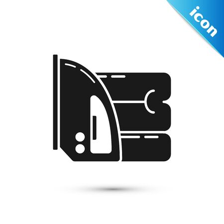 Black Electric iron and towel icon isolated on white background. Steam iron. Vector Illustration