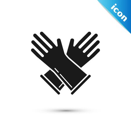 Black Rubber gloves icon isolated on white background. Latex hand protection sign. Housework cleaning equipment symbol. Vector Illustration