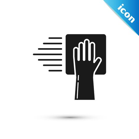Black Cleaning service icon isolated on white background. Vector Illustration