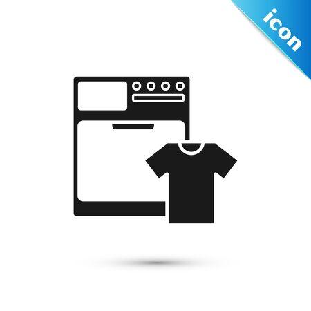 Black Washer and t-shirt icon isolated on white background. Washing machine icon. Clothes washer - laundry machine. Home appliance symbol. Vector Illustration