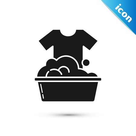 Black Plastic basin with soap suds icon isolated on white background. Bowl with water. Washing clothes, cleaning equipment. Vector Illustration Banque d'images - 130597100