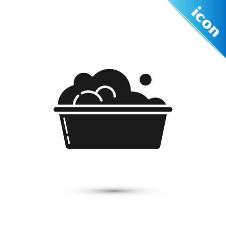 Black Plastic basin with soap suds icon isolated on white background. Bowl with water. Washing clothes, cleaning equipment. Vector Illustration Banque d'images - 130597133