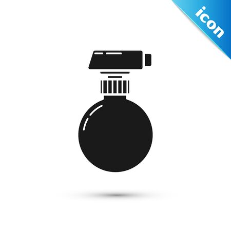Black Cleaning spray bottle with detergent liquid icon isolated on white background. Vector Illustration