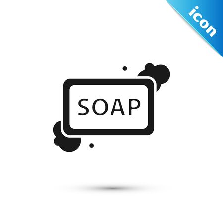 Black Bar of soap with foam icon isolated on white background. Soap bar with bubbles. Vector Illustration Banque d'images - 130597138