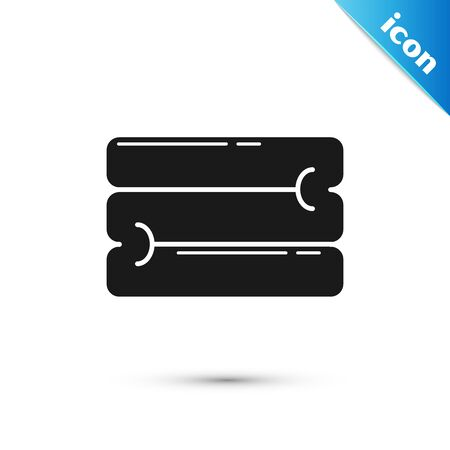 Black Towel stack icon isolated on white background. Vector Illustration