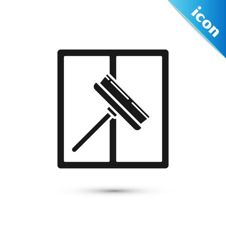 Black Cleaning service with of rubber cleaner for windows icon isolated on white background. Squeegee, scraper, wiper. Vector Illustration