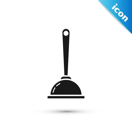 Black Rubber plunger with wooden handle for pipe cleaning icon isolated on white background. Toilet plunger. Vector Illustration