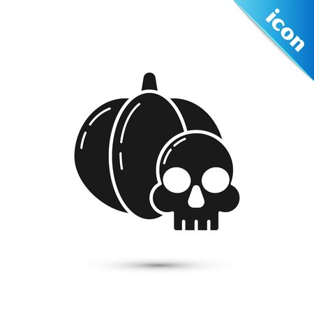 Black Pumpkin and skull icon isolated on white background. Happy Halloween party. Vector Illustration